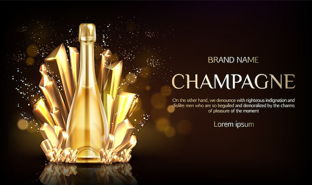 Champagne bottle with gold crystal grains banner