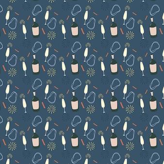 シャンパンのボトルとグラスは、青い背景にシームレスなパターンをベクトルします。パーティの招待状、ホリデーカード。現代のグランジ背景テキスタイル、プリント、紙製品、ウェブ。女の子のパターン