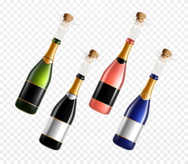 Bottiglie di champagne con set realistico di tappi di sughero isolato su superficie trasparente