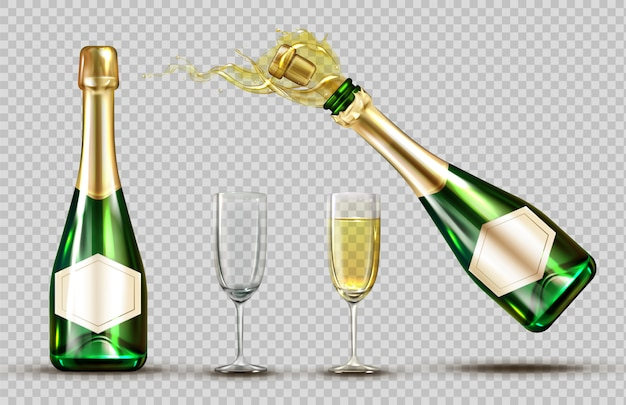 Champagne explosion bottle and wineglasses set