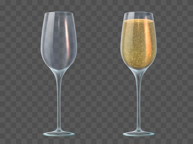 Бокал для шампанского. наполните прозрачные бокалы игристым вином и опорожните их. день святого валентина, рождество и свадьба 3d реалистичный векторный макет. иллюстрация бокал шампанского жидкий напиток