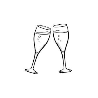 Бокалы для шампанского рисованной наброски каракули значок