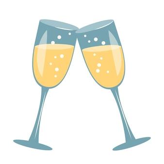 シャンパングラス。バレンタインデー、結婚式、休日のアイコンと装飾。白い背景の上のベクトルフラットイラスト
