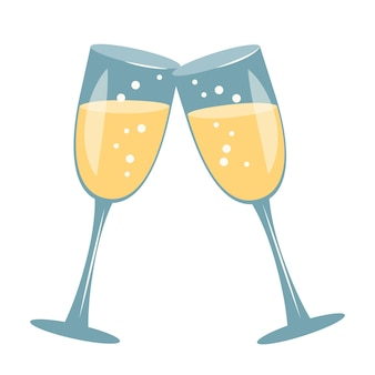 Champagne glasses. icon and decoration for valentine day, wedding, holiday. vector flat illustration on white background
