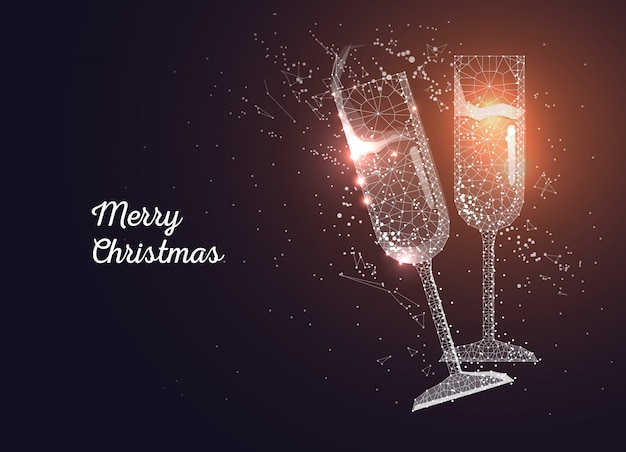 Champagne glasses. merry christmas greeting card