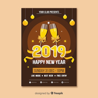 Champagne glasses new year poster template