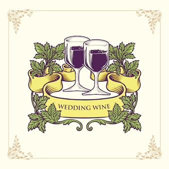 The champagne glasses and wedding wine illustration