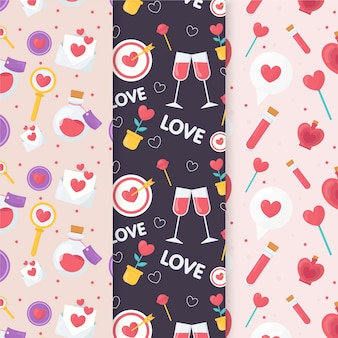 Champagne and hearts valentine's day pattern