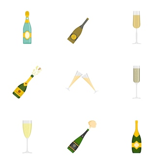 Champagne icons set, cartoon style