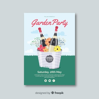 Champagne spring party poster template