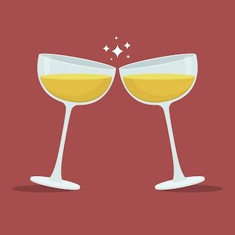 Champagne toast glasses illustration