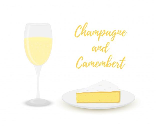 カマンベール入りシャンパン、アルコール入りガラス、乳製品。 Premiumベクター