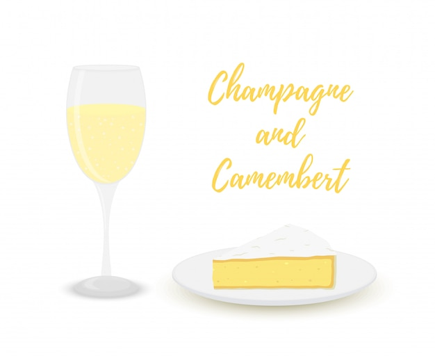 Champagne with camembert, glass with alcohol and dairy product.