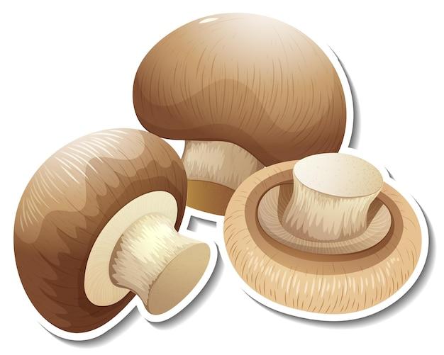 Наклейка гриб шампиньон на белом фоне