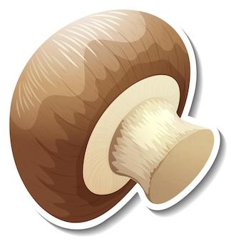 Adesivo di funghi champignon su sfondo bianco