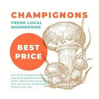 Champignons promo template hand drawn mushrooms