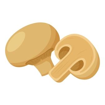 Шампиньоны. гриб цельный, в поперечном сечении пополам. ингредиент, иллюстрация в плоском стиле.