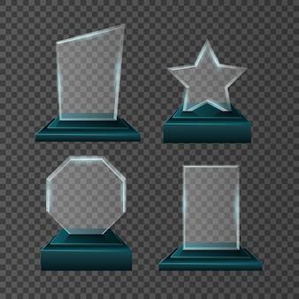Champion awards icons set on transparent background.