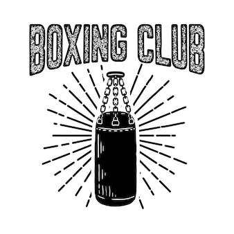 Champion boxing club. emblem template with boxer punching bag.  element for logo, label, emblem, sign.  illustration