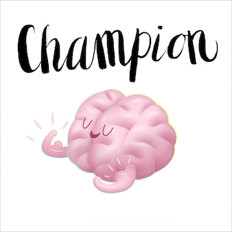 Champion the brain showing it s biceps cartoon illustration and lettering