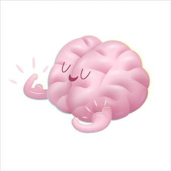 Champion the brain showing it s biceps cartoon illustration