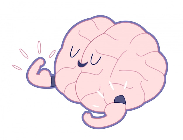 Champion the brain showing it s biceps flat outlined cartoon illustration