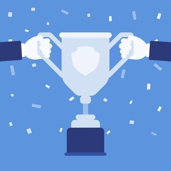 우승자 손에 챔피언 컵 트로피입니다. 사람은 스포츠 또는 비즈니스 토너먼트에 주어지는 1등 상을 가지고 상을 받습니다. 벡터 평면 스타일 만화 일러스트 레이 션, 색종이 배경