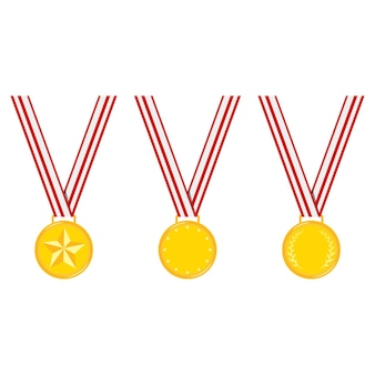 Champion different design golden medals stripped red ribbon set isolated on white background vector flat illustration.
