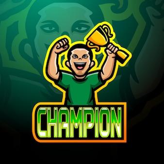Champion esport logo mascot design