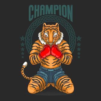 Champion fighter prepare for battle illustration