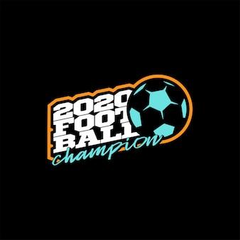 Победитель футбольного логотипа. современный профессиональный типографии спорт футбольный мяч в стиле ретро эмблема и шаблон дизайна логотипа. цветной логотип champion football