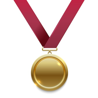 Champion gold medal on red ribbon