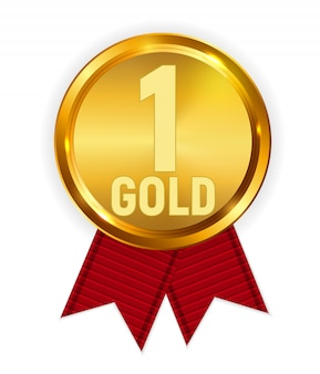 Champion gold medal with red ribbon. icon sign of first place