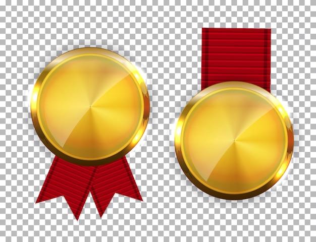 Золотая медаль чемпиона с красной лентой. значок знак первого места изолирован