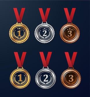 赤いリボンのベクトルで設定されたチャンピオンゴールドシルバーとブロンズ賞メダル