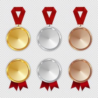 チャンピオンゴールド、シルバー、銅メダルのアイコンセット