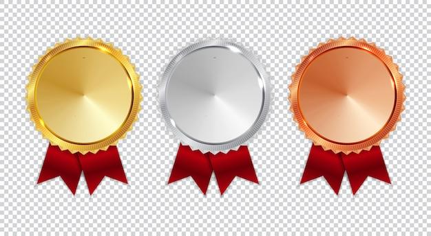 チャンピオンの金、銀、銅メダルのアイコンは、白い背景で隔離の1位、2位、3位のコレクションセットに署名します。
