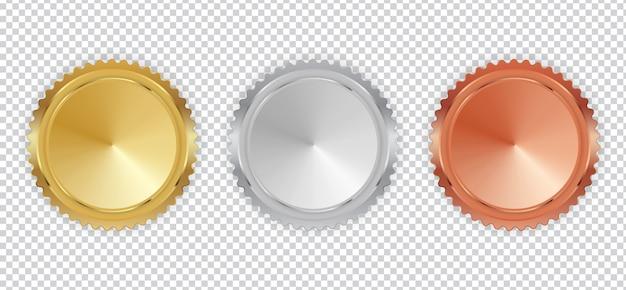 챔피언 골드, 실버 및 브론즈 메달 아이콘 기호 첫 번째, 두 번째 및 세 번째 장소 컬렉션 집합에 고립 된 흰색 배경.