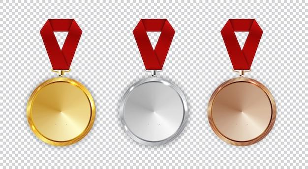 チャンピオンの金、銀、銅メダルのアイコンは、白い背景で隔離の1、2、3位のコレクションセットに署名します。