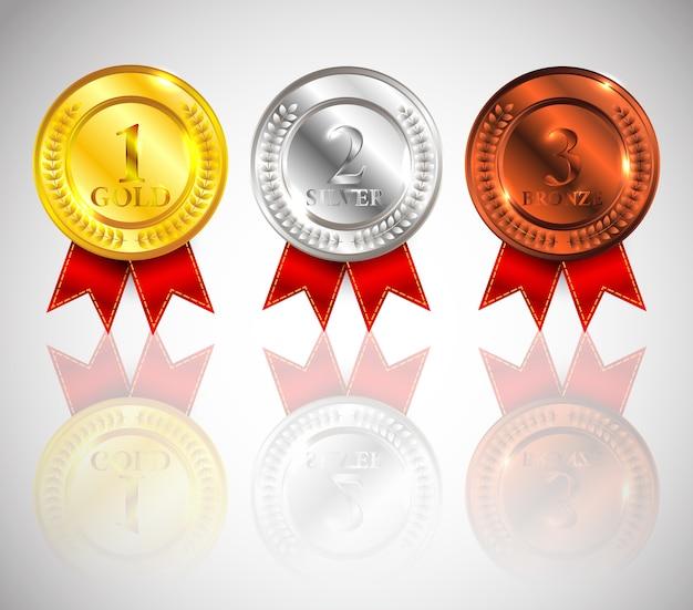 빨간 리본 아이콘 기호 첫 번째, 두 번째 및 세 번째 장소 컬렉션 집합 투명 배경에 고립 된 챔피언 골드, 실버 및 브론즈 메달.