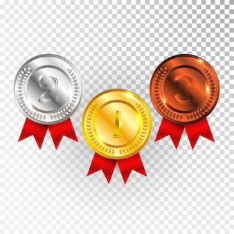 Золотая, серебряная и бронзовая медаль чемпиона с красной лентой значок знак первое, второе и третье место сбора набор, изолированные на прозрачном фоне.