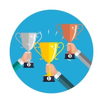 챔피언 골드, 실버 및 브론즈 트로피 컵 수상 아이콘 1위, 2위 및 3위. 벡터 일러스트 레이 션 eps10
