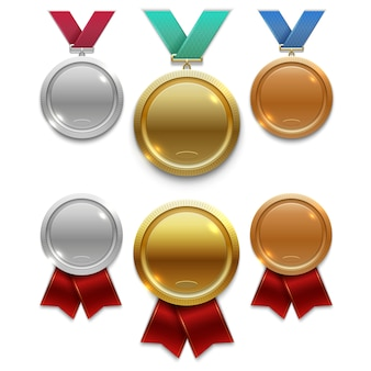 Champion gold, silver and bronze award medals with red and colors ribbons isolated