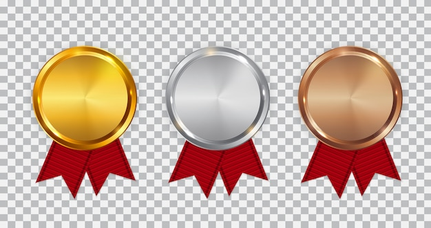 Champion gold, silver and bronze medal template with red ribbon.
