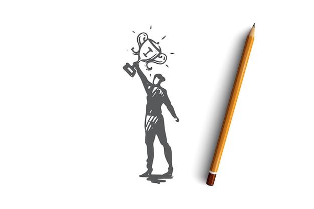 챔피언, 리더, 승자 개념. 손에 1 등 트로피를 가진 여자입니다. 손으로 그린 스케치 그림