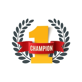 Champion, number one background with red ribbon and olive branch on white. poster or brochure template.  illustration.