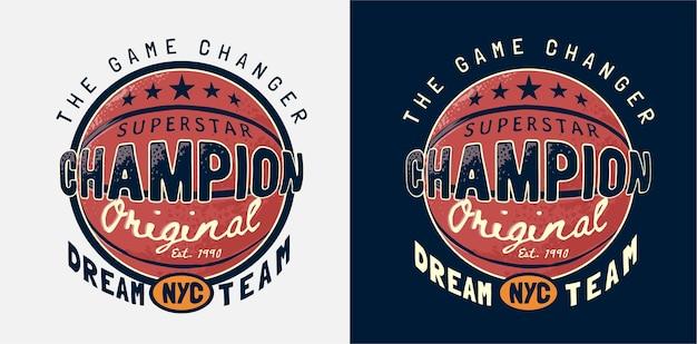Лозунг чемпиона с баскетбольной иллюстрацией