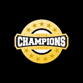 Champion sports league logo emblemバッジグラフィック・タイポグラフィー