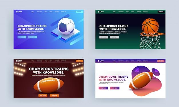 Адаптивный дизайн целевой страницы с баскетбольными воротами, футбольным мячом и мячом для регби в четырех цветовых вариантах для champion trains with knowledge.