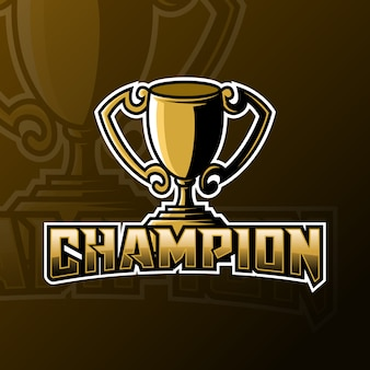 Champion trophy mascot gaming logo template